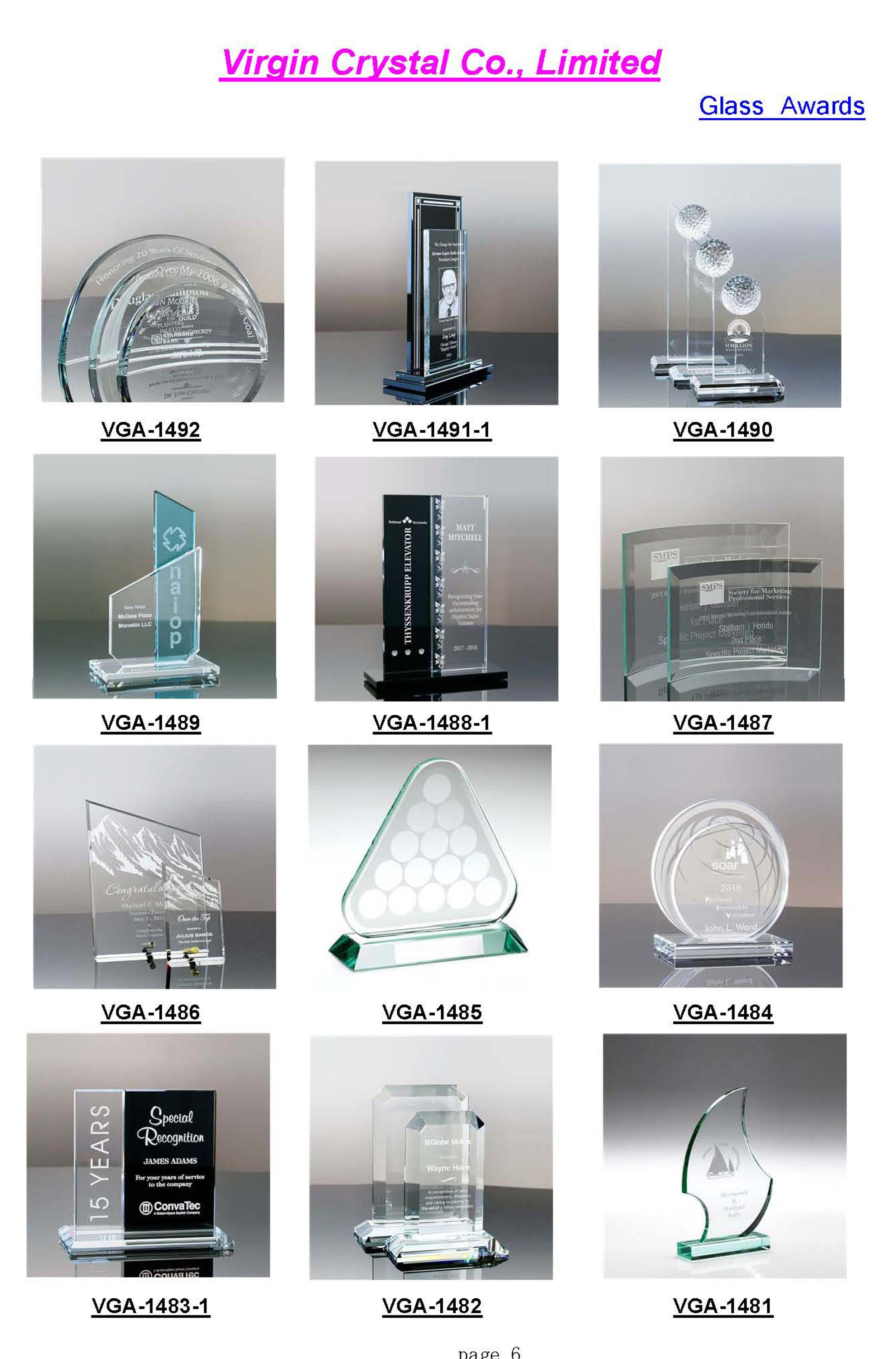 Factory Wholesale Nice Design Laser Engraved Crystal Awards with customized logo as Congratulation Awards