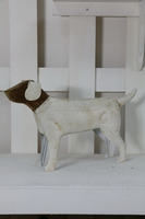 wholesale garden decor Antique White wooden and Metal Dog
