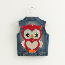 S66081A Wholesale Baby Girls Vests Denim Appliuqes Owl Sequined Girls Waistcoats