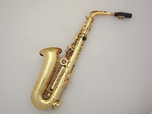 Colored wind instrument alto saxophone with golden lacquer