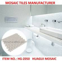 White Hexagon non-slip bathroom floor tiles