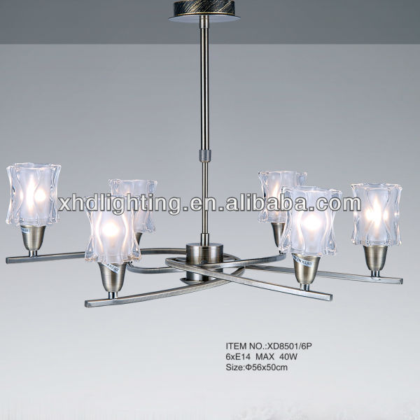 luxury metal modern glass ceiling lights/hanging chandelier &chandelier pendant with 4 holder XD8501-4P