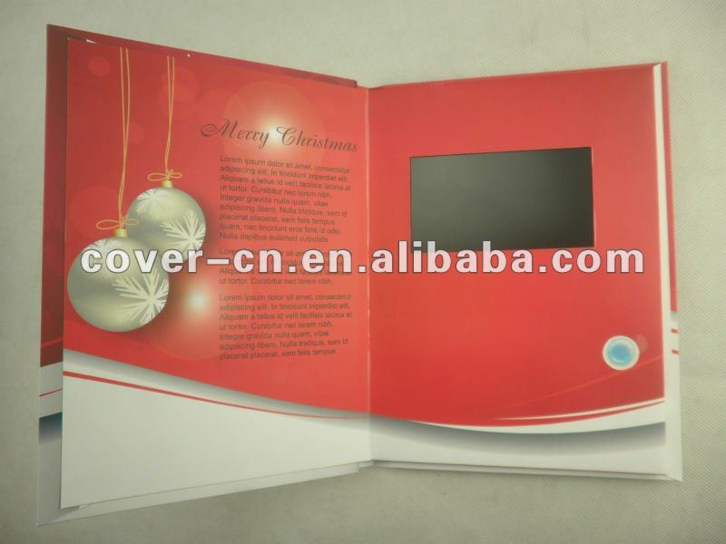 Christmas LCD video greeting card with On/Off switch