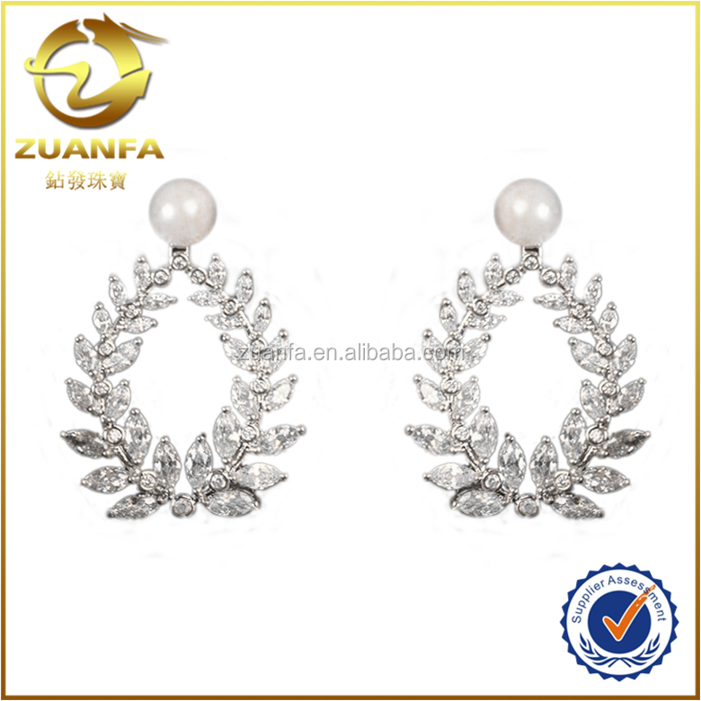 wholesale women joyas with pearl and marquise cz dangle earring ladies earrings designs pictures