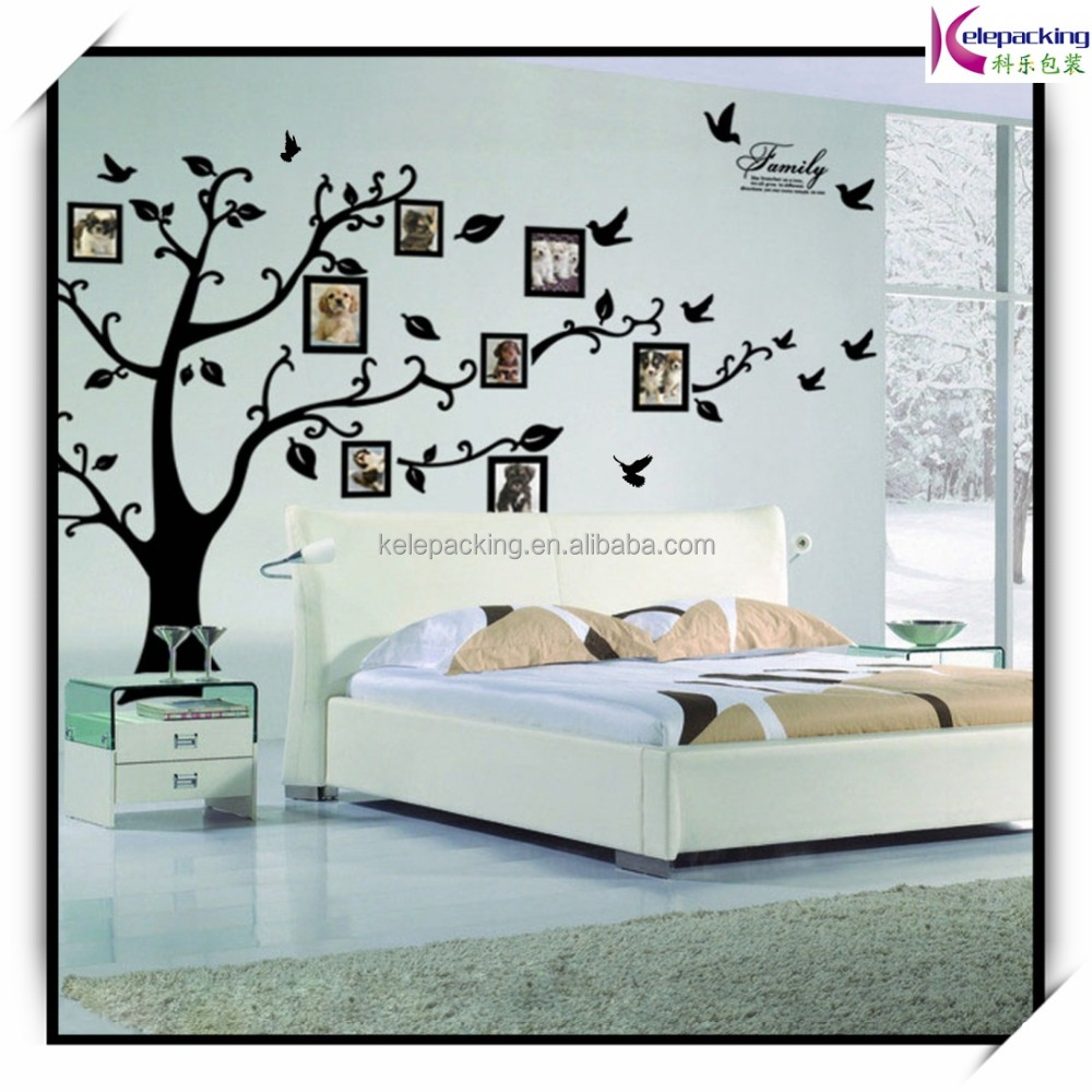 Decorative family tree black fram photo wall sticker extra large removable