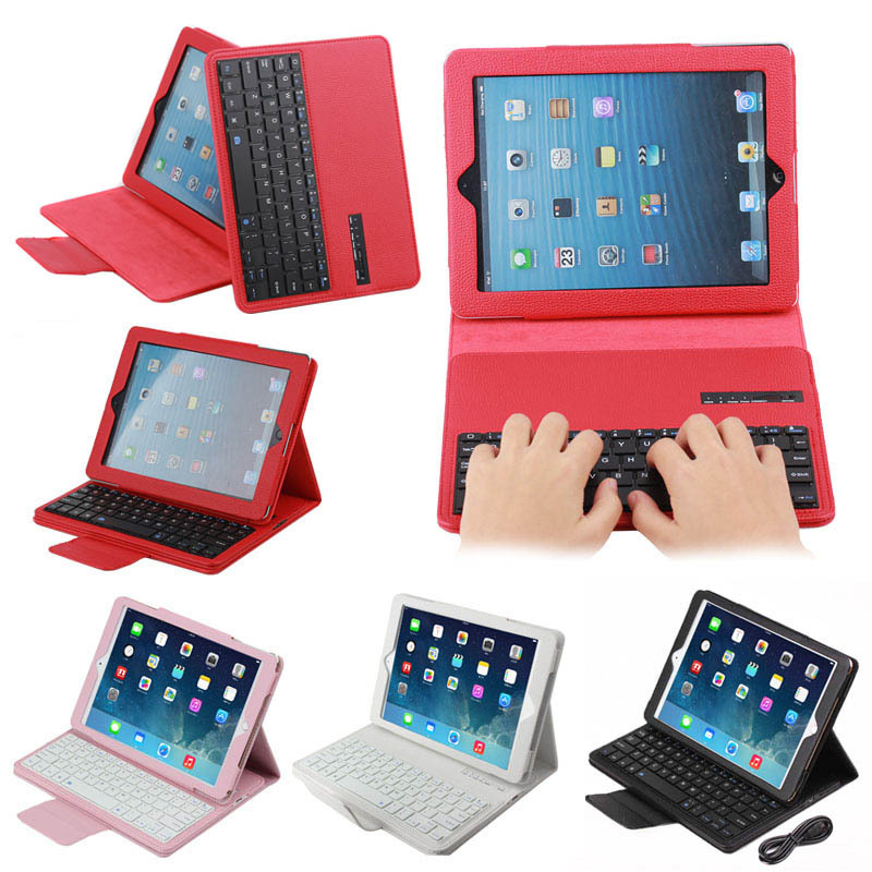 Three Folds Detachable leather case with bluetooth keyboard for iPad 2/3/4
