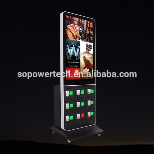 floor standing small wifi <strong>advertising</strong> and mobile phone charge station multi-function mobile phone charger 9 bay charging lockers