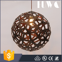 Pure natural wood makes round wooden globe droplight modern pendant lamp round wooden light