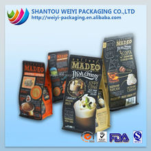 high quality Flexible Aluminum foil quad sides sealed food packaging aluminum plastic bags for snack packaging