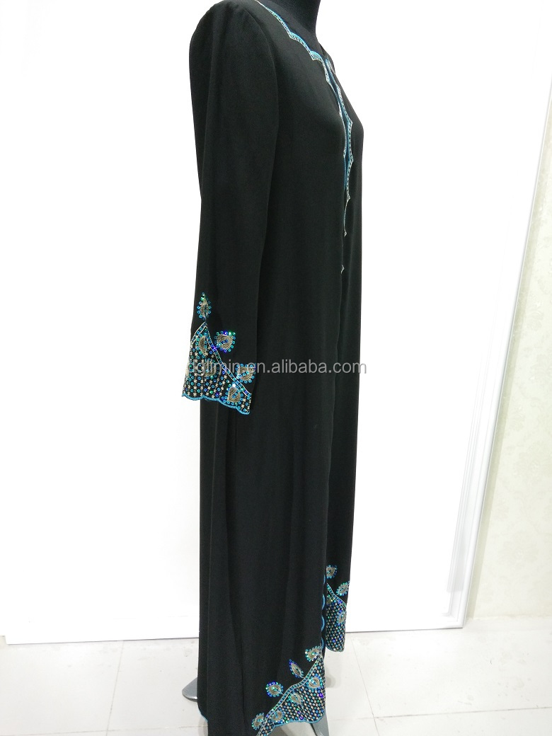 New Product Indian Ethnic Wear Black Abaya Embroidery Dress Islamic Clothing