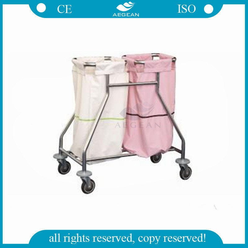 AG-SS019 2 linen bag patient room clean movable hospital dressing trolley