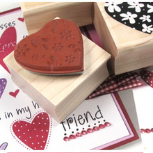 heart shaped rubber stamp with wood handle wood ink Stamp