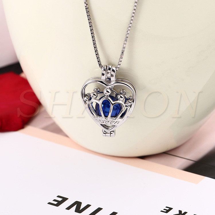 Wholesale Gift S925 Sterling Silver Queen Crown Pearl Locket Pendant