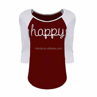 Womens 3/4 Sleeves Round Neck Collision Color Top Casual Party Work School Sports Raglan Printing Text Letters Sublimation Shirt