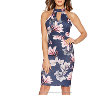 Fashion Whole Sale Navy And Pink Floral Print Sleeveless Halter Cut Out Bodycon Knee Length Fit Midi Dress