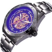 SHENHUA 9581A Mens Fashion Vintage Bronze Wristwatch Skeleton Automatic Self Wind Mechanical Watches
