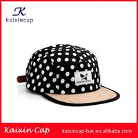 Wholesale custom OEM leather patch cheap 100% cotton 5 panel hat