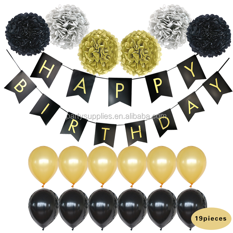 Black Paper Banner Tissue Paper Pom Poms Happy Birthday Banner Party Decoration Set