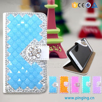 Luxury crystal rhinestone diamond lady wallet case for Leagoo Lead 7 bling bling case