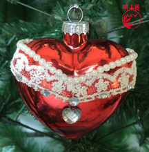 Decorative clear glass heart mold glass figurines hanging ornament