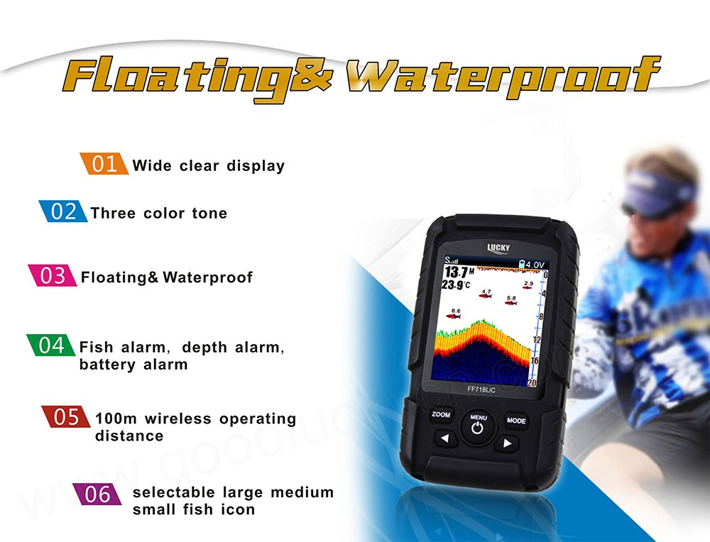 LUCKY Rechargeable Battery Waterproof Wireless Fishfinder FF718Li-CW