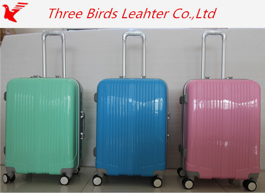 Three birds brand ABS+PC hard shell items luggage bag and trolley case, fashion suitcase with spinner wheels