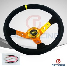 PQY STORE- GOLD Steering wheel ID=14inch 350mm OMP Deep Corn Drifting Steering Wheel / Suede Leather Steering wheels PQY-SW21G