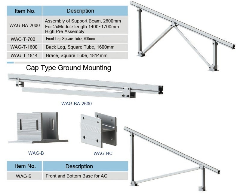 Solar panel ground mount bracket with ground screw, ground mount pv racking systems