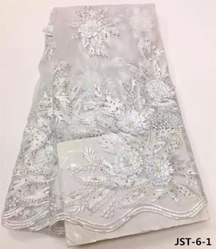 2017 3D flowers embroidery lace fabric white french lace with beads and stones