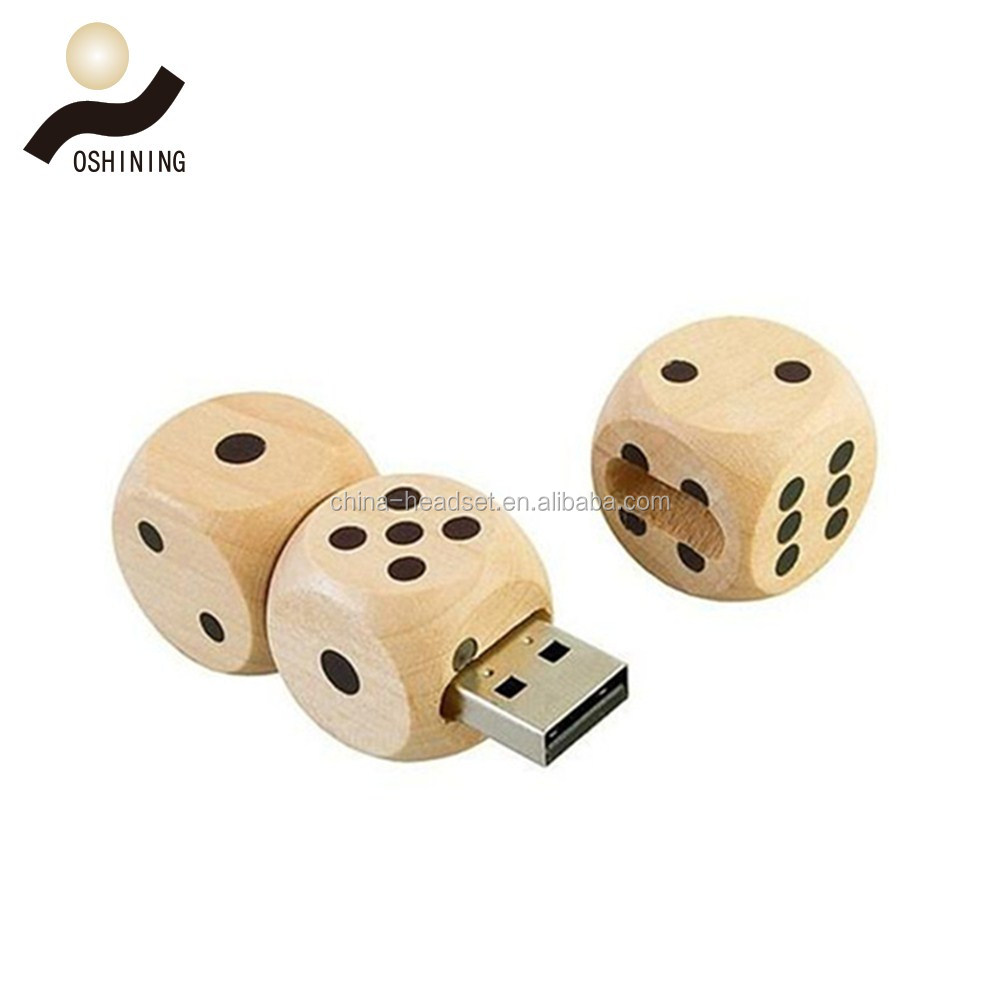 Dice shape Wooden Swivel USB 2.0 Flash Drive (USB-WD311)