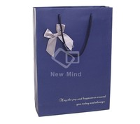 Nice design blue shopping bag with ribbon handle and bow tie
