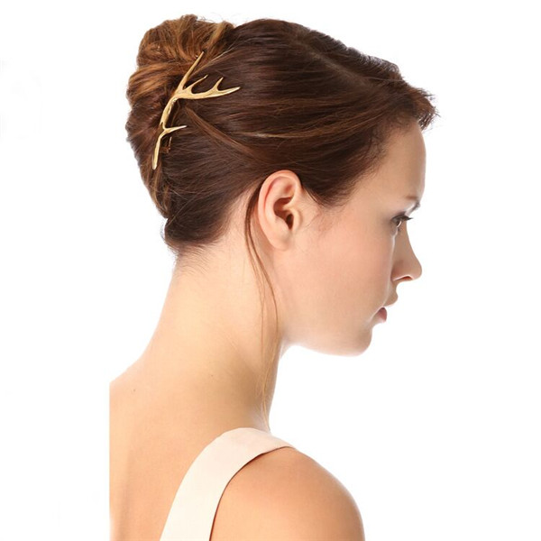 2016 Fashion ladies hair jewelry gold plated alloy staghorn fancy hair clip