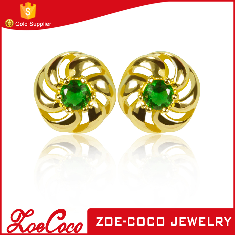 2016 new design dubai gold plating cooper alloy jewelry custom made stud earrings with green gemstone