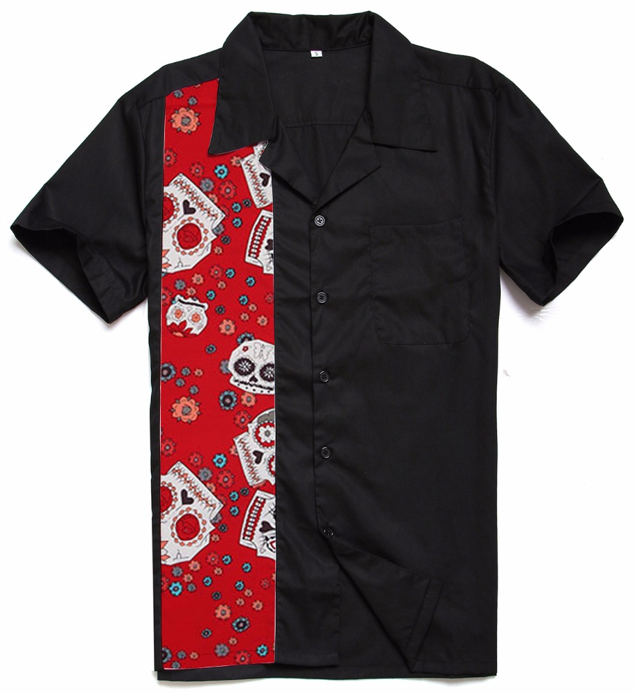 Red Skulls Panel Cotton Rock <strong>N</strong> Roll Casual Plus Size Elvis Men Work Shirts