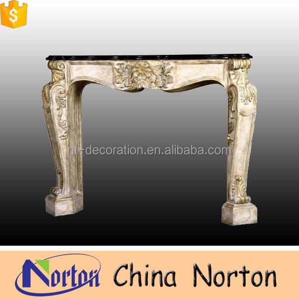 Italian antique indoor used 2 sided marble fireplace mantel NTMF-F010Y