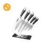 5-Piece Stainless Steel Sharpener and Block Kitchen Knife Set with Finger Guard