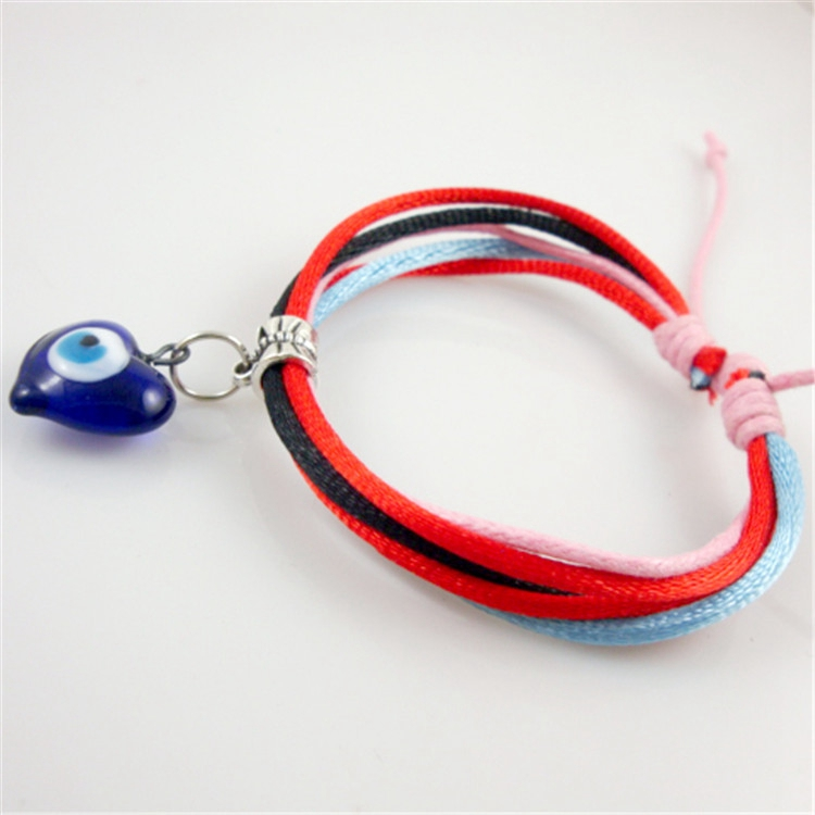 Heart Shape Blue Evil Eye Glass Charm Colorful Handmade Rope Turkish Womens Bracelet