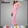 Dongguan manxun clothing supplier sexy dress V neck pink maxi apparel