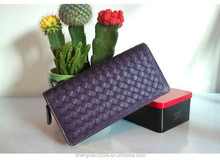 Lady double color top layer sheepskin pure handmade weave wallet Korean style fashion coin purse