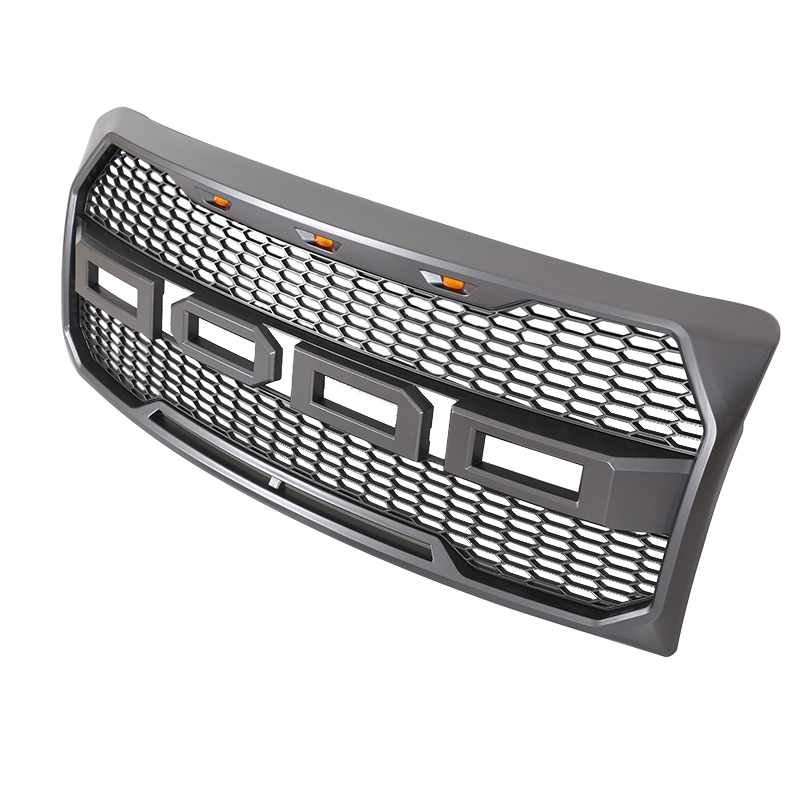 Charcoal Gray Front Mesh Grill Grille <strong>W</strong>/ 3 Amber LED For Ford F-150 Raptor 2009 2010 2011 2012 2013 2014