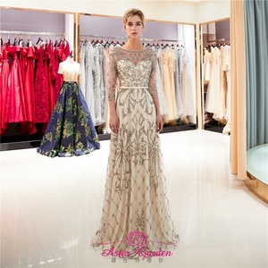 Champagne Evening Dress 2019 half sleeves Crystal Beaded Evening Gown Floor  Length Prom Party Gown Robe da6f81b4e6a6