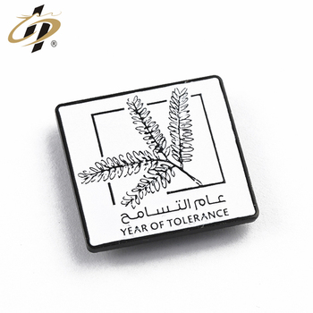 Promotional UAE square black metal enamel custom magnetic lapel pin