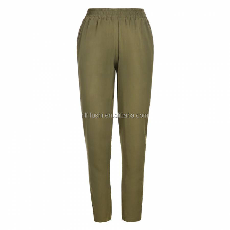 Army Green Comfortable Rayon Woman Trousers