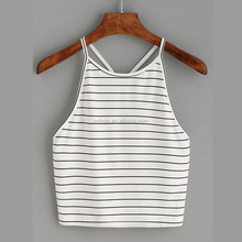 Custom Blank Crop Tops Wholesale Cheap White Striped Y Back Cami Top Women Sexy Y Back Tank Tops