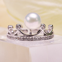Latest Design Fashion Silver Finger Ring With White Pearls