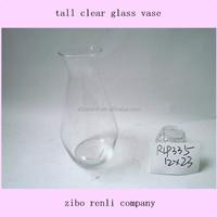 Fluted Design Simple Floral Tall Flower Arrangement Cheap Clear Glass Vase