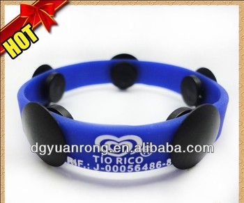 New Custom Silicone Button Bracelet, High Quality Silicon Magnet Wristband