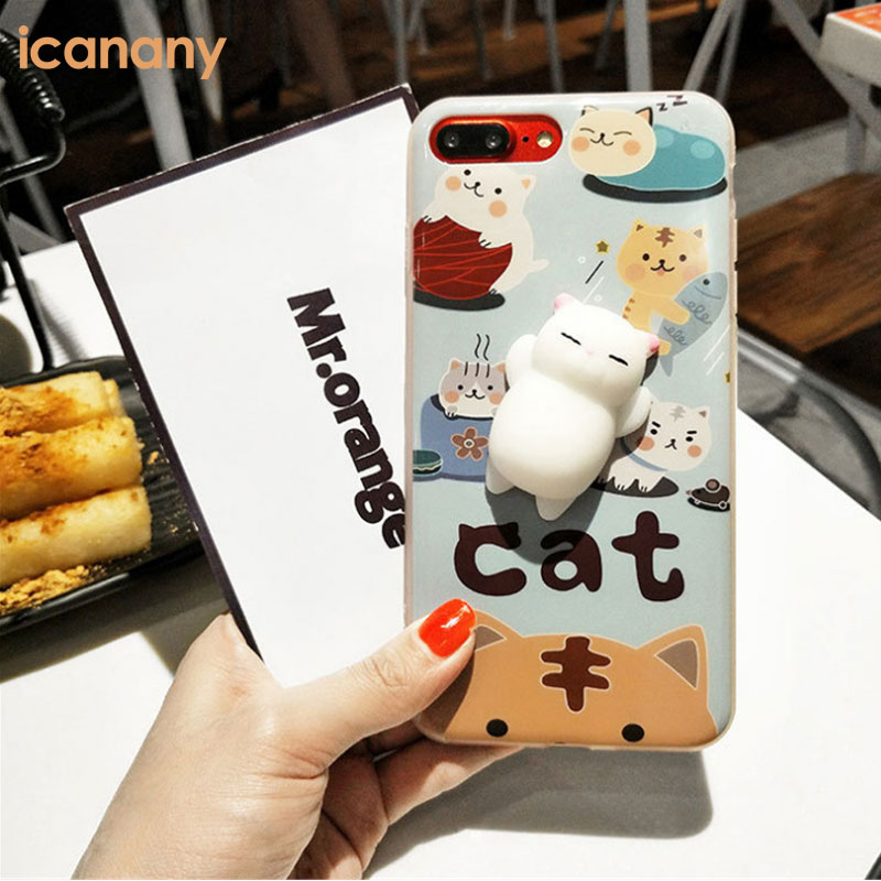 Squishy Cat Case Kneading Soft Silicone Finger Pinch Cute Mobile Phone TPU Protective Cover for Girls Women Kid