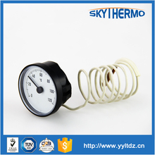 round shape hydraulic temperature gauge capillary remote reading dial thermometer