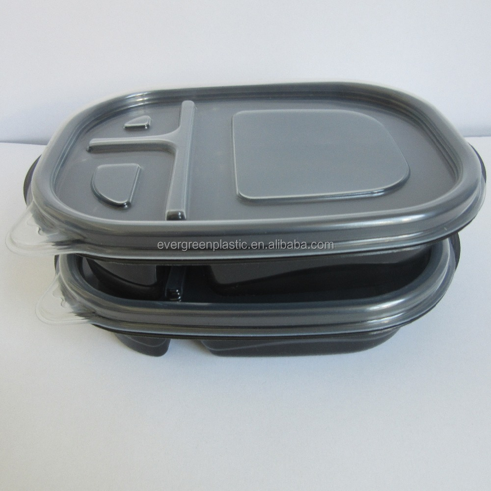 Eco friendly pp plastic 3-compartment bento lunch box disposable plastic container black plastic containers